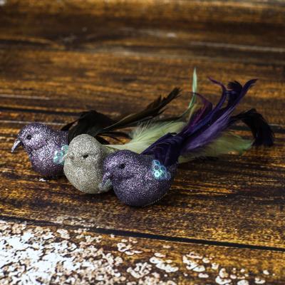 Komplet ptaszków na klipsie fioletowo-złote 3 szt