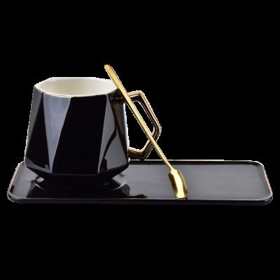 Filiżanka z talerzykiem Colette czarna 400 ml