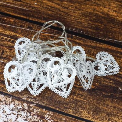 Lampki dekoracyjne 10 led serca białe 150 cm