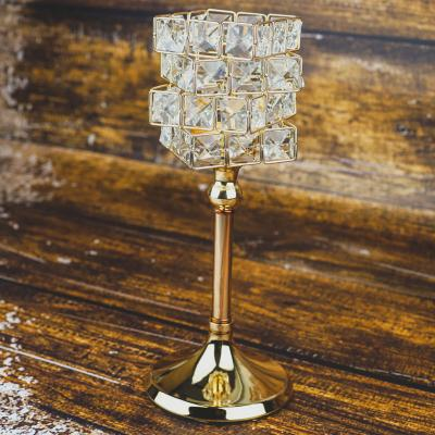 Świecznik metalowy z kryształami 32 cm złoty