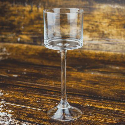Świecznik szklany kielich 9x25 cm