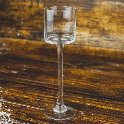 Świecznik szklany kielich 7x25 cm