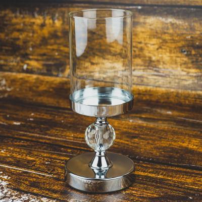 Świecznik metalowy z szklanym kloszem srebrny 28 cm