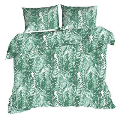 Komplet pościeli  z mikrowłókna zielone liście 160x200 cm