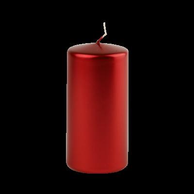 Świeca w kształcie walca czarwona 6x12 cm