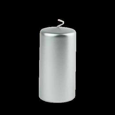 Świeca w kształcie walca srebrna 6x12 cm