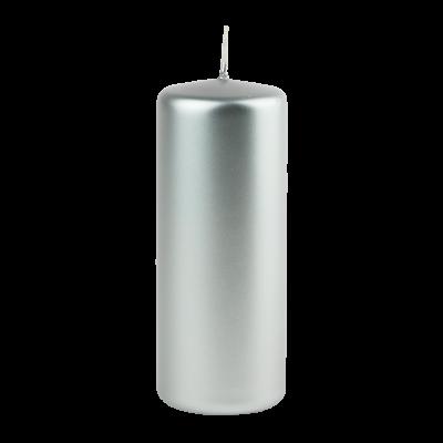 Świeca w kształcie walca srebrna 6x15 cm