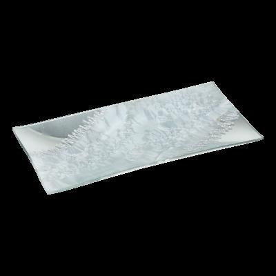 Podstawka szklana ze wzorem srebrna 26,5x12,5 cm