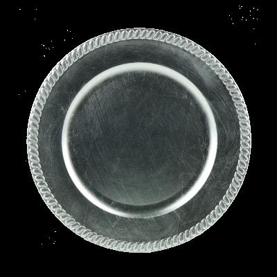 Podstawka dekoracyjna okrągła satynowe srebro 33 cm