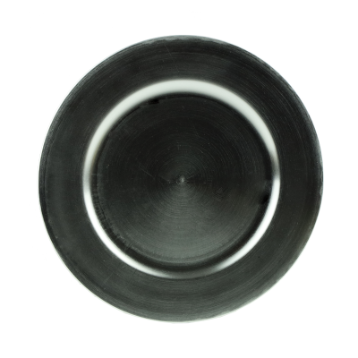 Podstawka dekoracyjna okrągła srebrna gładka 33 cm