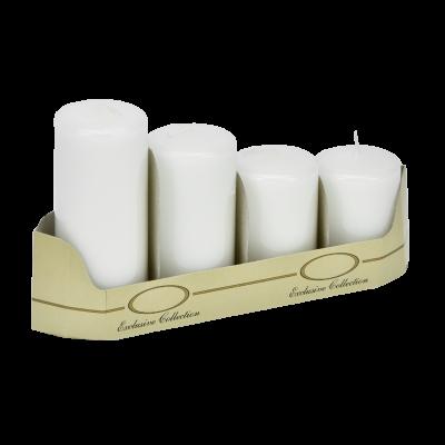Komplet świec pieńkowych białe 4 szt