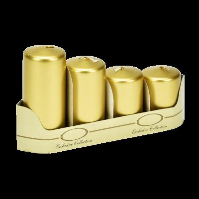 Komplet świec pieńkowych złote 4 szt