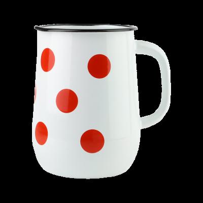 Dzbanek emaliowany biały w czerwone grochy 2,5 l