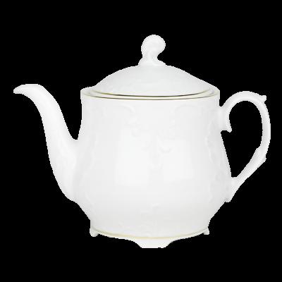 Czajnik porcelanowy ĆMIELÓW Rococo złoty pasek 1,1l