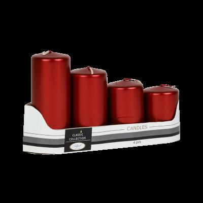 Komplet świec pieńkowych czerwone metaliczne 4 szt