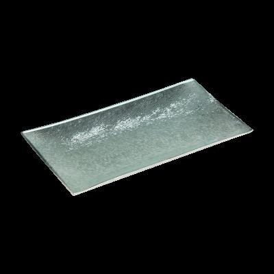 Podstawka dekoracyjna szklana srebrna 20,5x10 cm