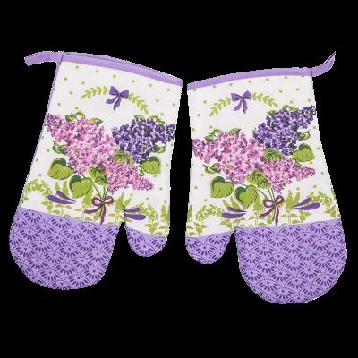 Komplet 2 rękawic kuchennych z magnesem flower fioletowe 18x27 cm