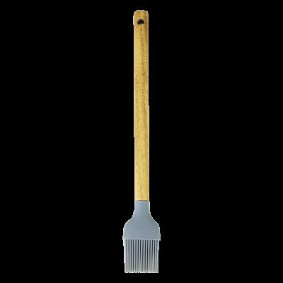 Pędzelek silikonowy z drewnianą rączką szary 29 cm