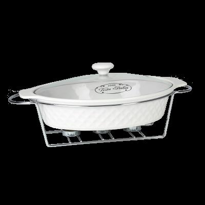 Naczynie ceramiczne z podgrzewaczem owalne 2,6 l