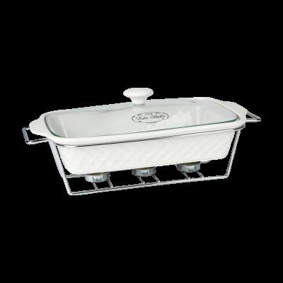 Naczynie ceramiczne z podgrzewaczem prostokątne 2 l