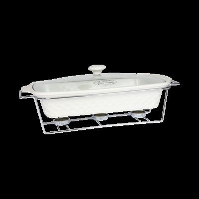 Naczynie ceramiczne z podgrzewaczem prostokątne 2,9 l