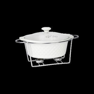 Naczynie ceramiczne z podgrzewaczem okrągłe 2,3 l