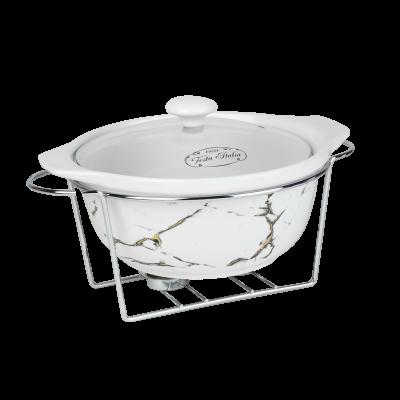 Naczynie ceramiczne z podgrzewaczem okrągłe marmurek 2,4 l