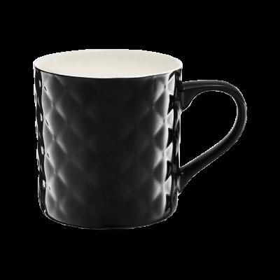 Kubek porcelanowy AMBITION pikowany czarny 420 ml