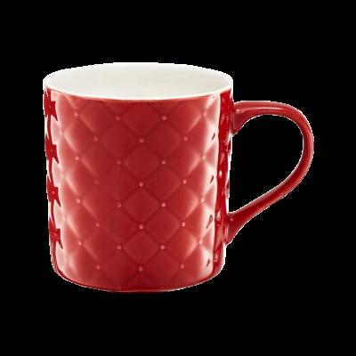 Kubek porcelanowy AMBITION pikowany czerwony 420 ml