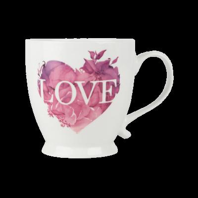 Kubek porcelanowy AMBITION Love różowe serce 480 ml
