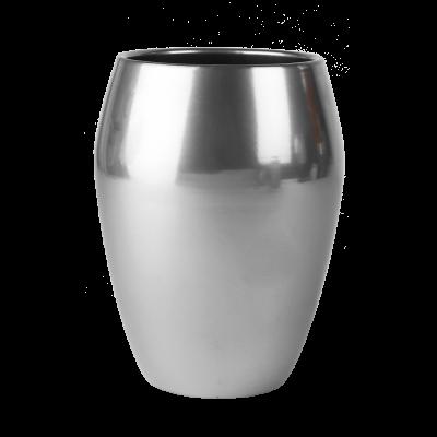 Osłonka ceramiczna wazon srebrna 20 cm