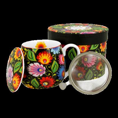 Kubek porcelanowy z zaparzaczem DUO Etnic 430 ml