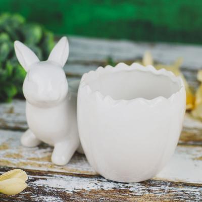 Osłonka ceramiczna z zajączkiem 18x13 cm