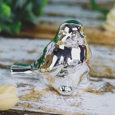Ptaszek z ceramiki srebrny 8 cm