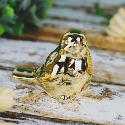 Ptaszek z ceramiki złoty 8 cm