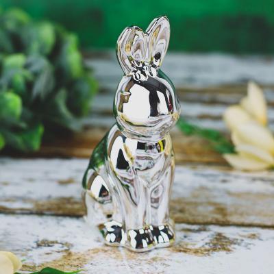 Zajączek z ceramiki srebrny 12,5 cm