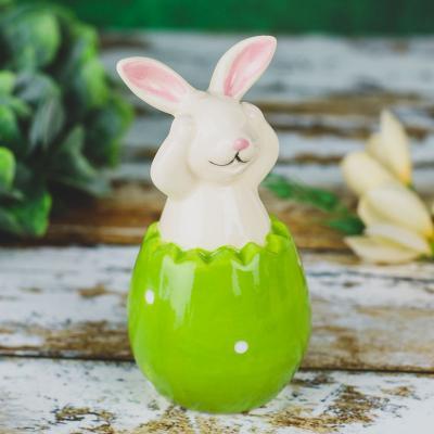 Figurka ceramiczna zajączek w jajku 12,5 cm