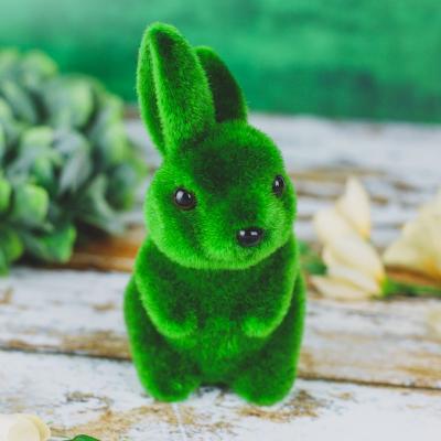 Zajączek ze styropianu flokowany zielony 16 cm