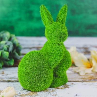 Zajączek z jajkiem flokowany zielony 18,5 cm