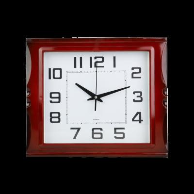 Prostokątny zegar ścienny bordowy 40x34 cm