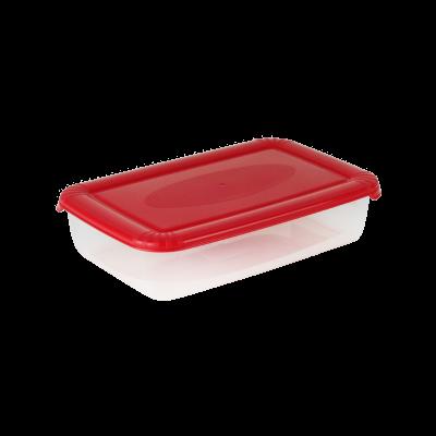 Prostokątny pojemnik do żywności Polar z czerwoną pokrywką 0,9 l