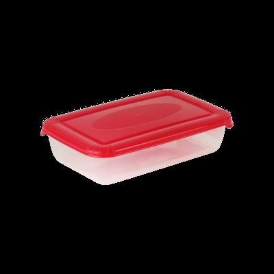 Prostokątny pojemnik do żywności Polar z czerwoną pokrywką 0,46 l