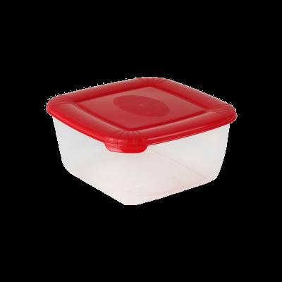 Kwadratowy pojemnik do żywności Polar z czerwoną pokrywką 0,95 l