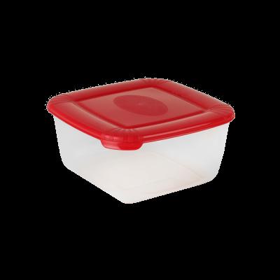 Kwadratowy pojemnik do żywności Polar z czerwoną pokrywką 1,5 l