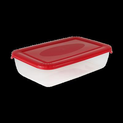 Pojemnik do żywności z czerwoną pokrywką prostokątny 3 l