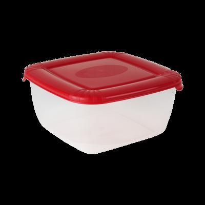Kwadratowy pojemnik do żywności Polar z czerwoną pokrywką 2,5 l