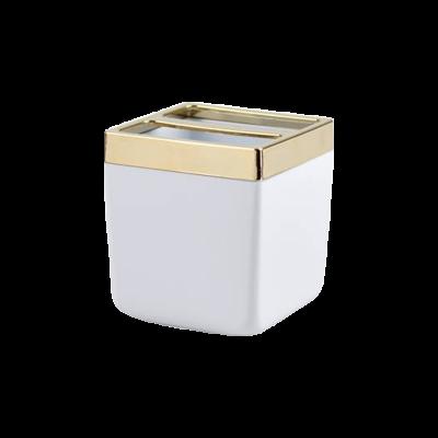 Pojemnik na szczoteczki do zębów Toskana biało-złoty