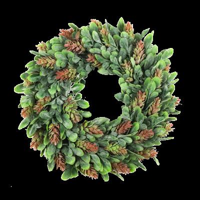 Wianek dekoracyjny listki i kwiaty 30 cm
