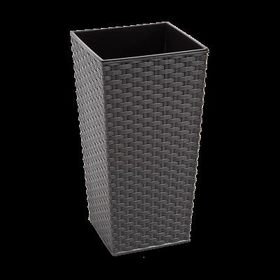 Doniczka z wkładem Finezja rattan metaliczny grafit 25x25 cm