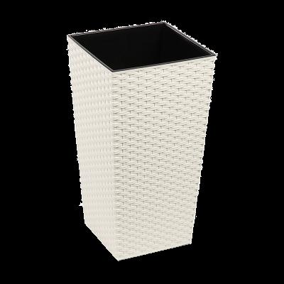 Doniczka z wkładem Finezja rattan kremowa 25x25 cm